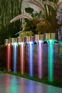 Solar Pack of 6 Colour Changing Beam Garden Stake Lights