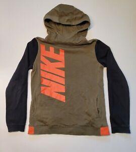 Nike Logo Hoodie Sweater Youth XL, Olive Green, Orange, Black Sweatshirt