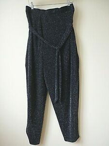 New Ex Evans Black+Sliver Sparkle Stretchy Belted Party Trouser Plus Size 20-30