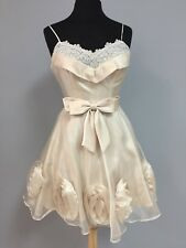 Short Cocktail/Party dress, women's size 6, champagne, chiffon with lace