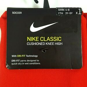 Nike Classic Soccer Socks Red Cushioned Knee High Women 4-6 Youth 3-5 5 Pairs