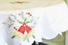 """Large Round Off-White Table Cloth Embroidered Christmas Bells D180cm (72"""")FFD003"""