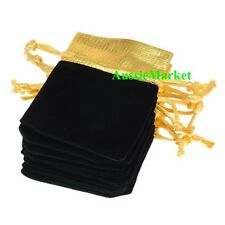 20 x velvet gift bags pouch favour black gold wedding party birthday christmas
