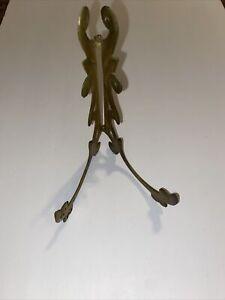 Ornate Vintage Brass Easel Frame Holder Stand Folding Art Plate