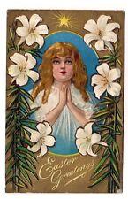 Vintage Easter Greetings Girl Praying Inside Egg Lilies Embossed 1909 Postcard
