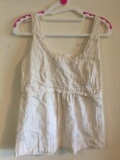 Cue Top - Size 10 - Cream With Pink Stripe