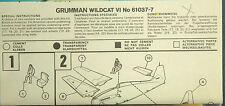 1/72ème PLAN DE MONTAGE POUR GRUMMAN WILDCAT VI - pour kit AIRFIX réf 61037-7