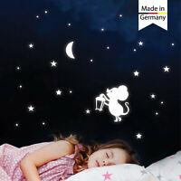 Leuchtaufkleber Kinderzimmer Mond Maus Sterne Leuchtsterne leuchten im Dunklen