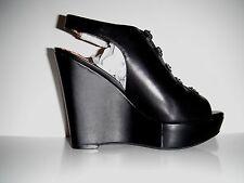 NIB Jessica Simpson Mossley Black Leather Wedge Platform Shoe  sz 6.5M