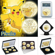 Pikachu Pokemon Gold Plated Coins Collectibles Set Box Japanese Girls Anime Gift