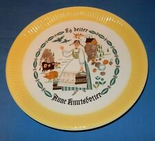 "9 5/8"" Norwegian Egersund Norway Anne Knutsdotter Farm Animal Yellow White Plate"