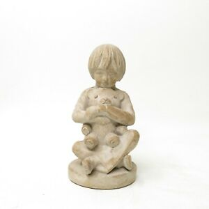 Vtg Austin Productions Products Inc 1982 Hannon Sculpture Little Boy w/ Bear