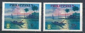 Philippines 1960 Sc# 817-18 set Sunset at Manila Bay boat MNH