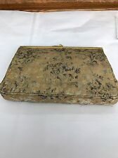 Vintage Mary Ann Rosenfeld Gold Fabric Brocade Gold Metal Frame Clutch Purse