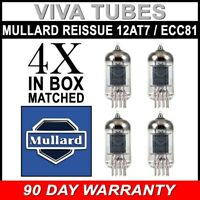 Brand New Mullard Reissue ECC81 12AT7 Gain Matched Quad (4) Vacuum Tubes