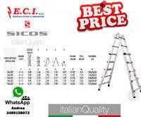 SICOS 146.407 - Profi Ladder Telescopic Aluminum Extruded 4+4 Steps