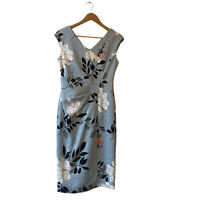 Maggy London | Blue Floral Print Cap Sleeve V Neck Ruched Midi Dress Size 4