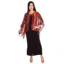 Affinity for Knits Round Neck Maxi Dress & Chiffon Poncho Sleeved Cardigan Set M