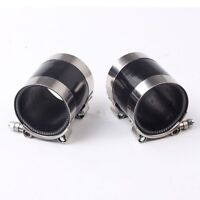"BLACK 2X 2.75"" TURBO/INTAKE/INTERCOOLER PIPING SILICONE COUPLER HOSE + T-CLAMP"