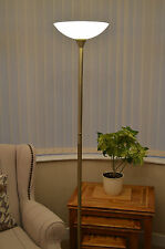 FLOOR UPLIGHTER  ANTIQUE BRASS  WITH GLASS SHADE LOW ENERGY BULB INCLUDED