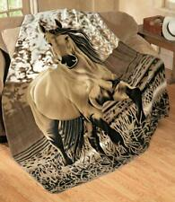 Western Horse Fleece Throw Blanket 63 X 73