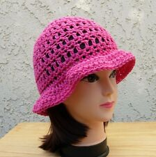 Women s Solid Hot PInk Cotton Summer Hat Crochet Knit Beach Sun Beanie with  Brim cdbeb94056bf