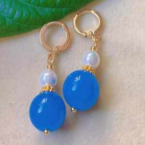 Natural Ocean blue chalcedony beads Pearl eardrop gold earrings Christmas