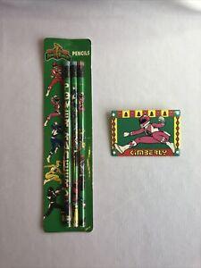 1993 Pink Power Ranger KIMBERLY Button Pinback Pin Saban & 3 Pencil Set