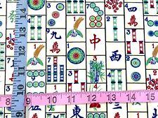RPFTT92 Mah Jong Tiles Mahjongg Asian Qing Dyn Chinese Game Cotton Quilt Fabric