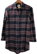 Billabong Shirt JD 21 Womens Size S Red Navy Plaid Long Sleeves Flannel Cotton