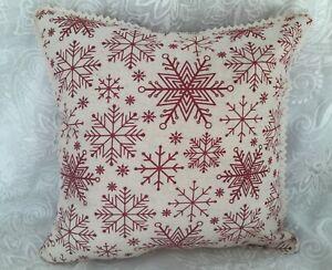 Vintage Linen Christmas Tea Towel Snowflakes Throw Pillow Red Pinstripe Fabric