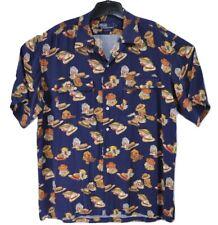 Vintage Polo Ralph Lauren Hawaiian Men Blue L Camp Shirt Hat All Over Print