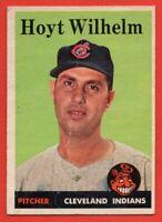 1958 Topps #324 Hoyt Wilhem GOOD+ CREASE HOF Cleveland Indians FREE SHIPPING