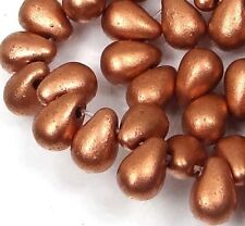 50 Czech Glass Teardrop Beads -  Matte Metallic Copper 6x4mm