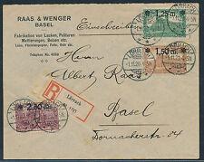 Dt. Reich Aufdruckserie 1920 Satzbrief Einschreiben teure Farbe geprüft (S12678)
