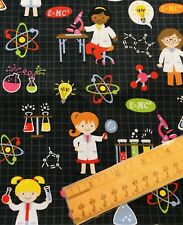 FQ Science Scientist Girl Lab Scientific Microscope Cotton Fabric Fat Quarter