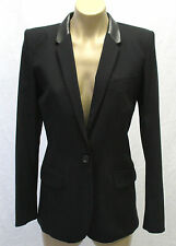 BARBARA BUI Black Long Sleeve Jacket/Blazer with Leather Accents Size 38 - Mint!