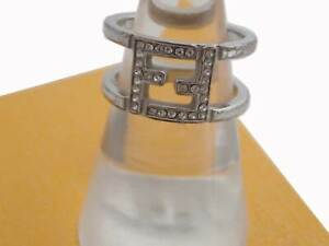 Auth FENDI FF Logo Wide Ring Silvertone Rhinestone/Metal Stamp Size:M - e48706f