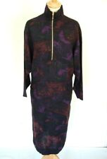 Vintage 70s 80s abstract print viscose high-neck sport zip front dress 42 14
