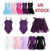 Kids Girls Gymnastics Ballerina Dress Kids Leotard+Tutu Wrap Skirts Set Costume