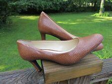 """SALE PRICE! LAUREN Ralph Lauren caramel brown reptile leather 3"""" heels 7.5B NWOB"""