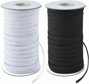 Flat Elastic Black & White 6mm 9mm 12mm 25mm Face Mask Elastic Sewing Dress UK