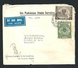 1955 Cover Military Secretary The Governor Punjab Pakistan State Service to UK