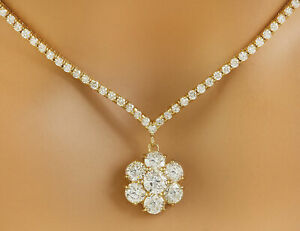 7.09 Carat Natural Diamond 14K Solid Yellow Gold Necklace