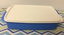 Tupperware Rectangle Divided Dish 4 Cups Blue w/ Ivory Seal New