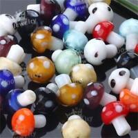 20pcs Murano Lampwork Glass Mushroom Loose Charm Spacer Beads Jewelry Making DIY