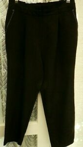 """( Ref 4680 ) New Look - Size 14 W 34"""" - Black Straight Leg Polyester Trousers"""