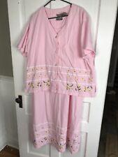 Women's Plus Sz 2X Pink JANE ASHLEY Embellished Jumper Dress & Shirt