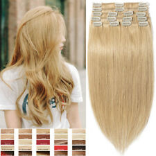 Clip in 100% Real Remy Indian Human Hair Extensions Full Head 8PCS Blonde P970