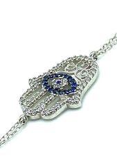 Sterling Silver Hamsa Evil Eye Bracelet Protection #9072